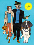 Connor and Hank Dressed as Tintin and Haddock