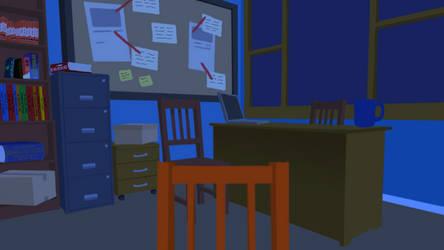 Detective Office - Night - Vtuber Background