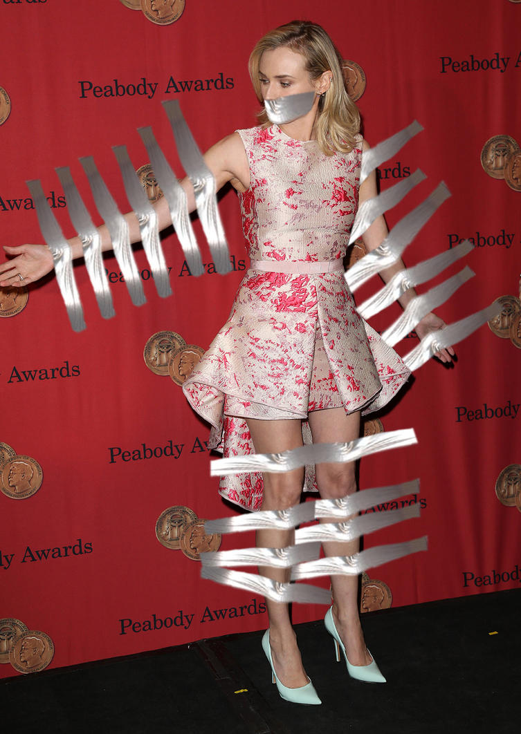 Diane Kruger taped to the wall by hedx