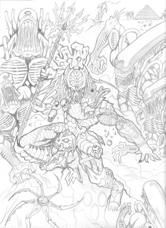 Atractivo Predador Alienígena Para Colorear Imagen - Páginas Para ...