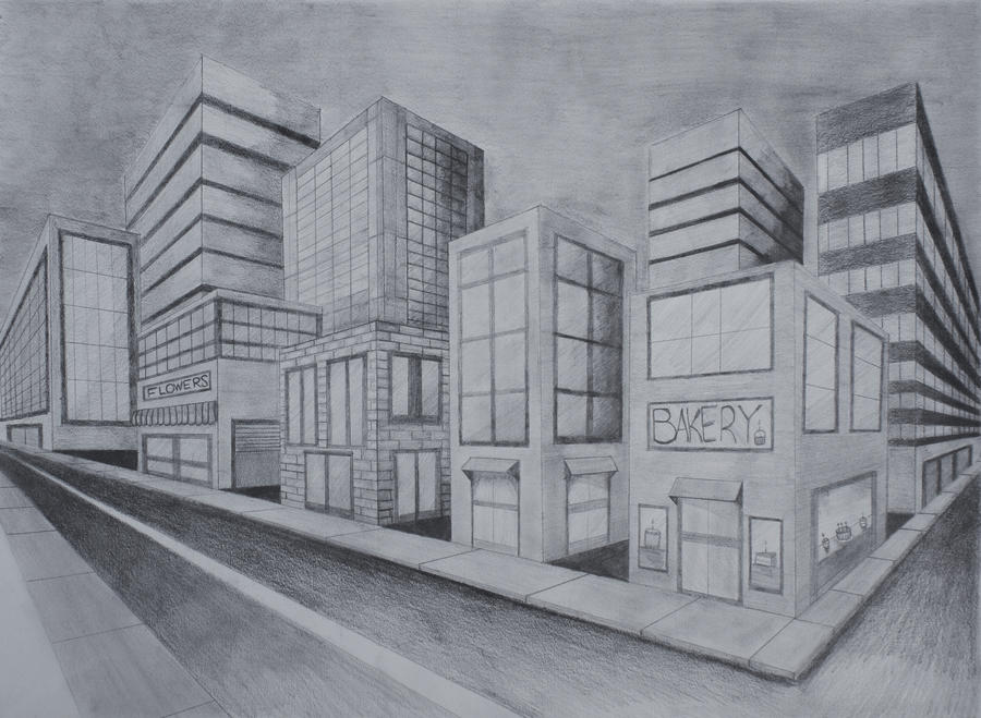 Two point perspective city by aude sapere on deviantart for Modern house 2 point perspective