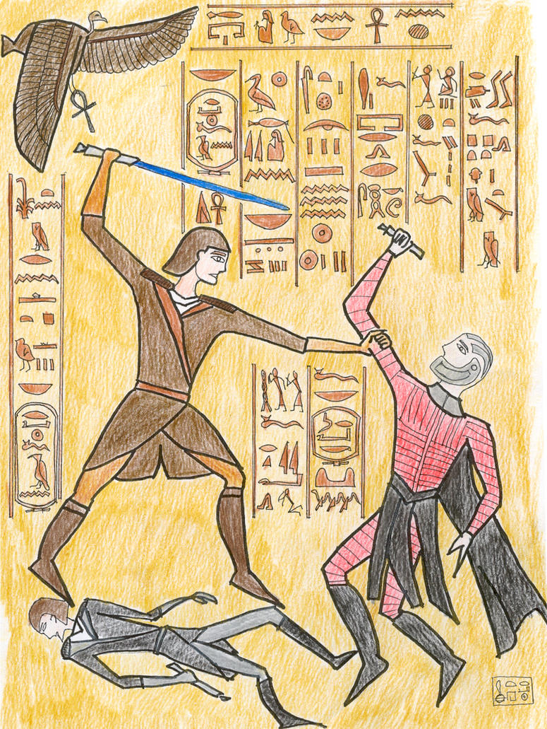 Egyptian Wall Relief - colour by gothkath on DeviantArt