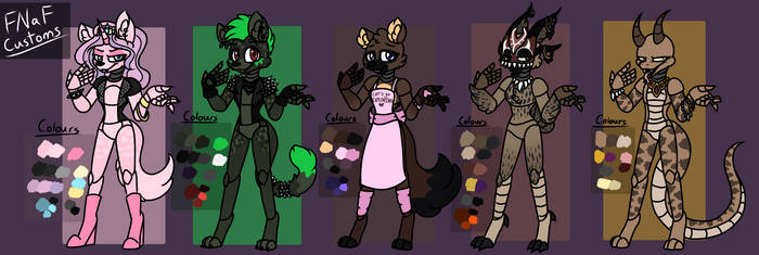 [FNaF] - 5 Customs by RAVEN0ID