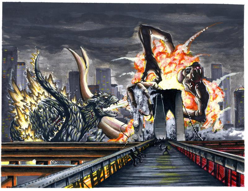 Godzilla Vs Cloverfield by starvingzombie