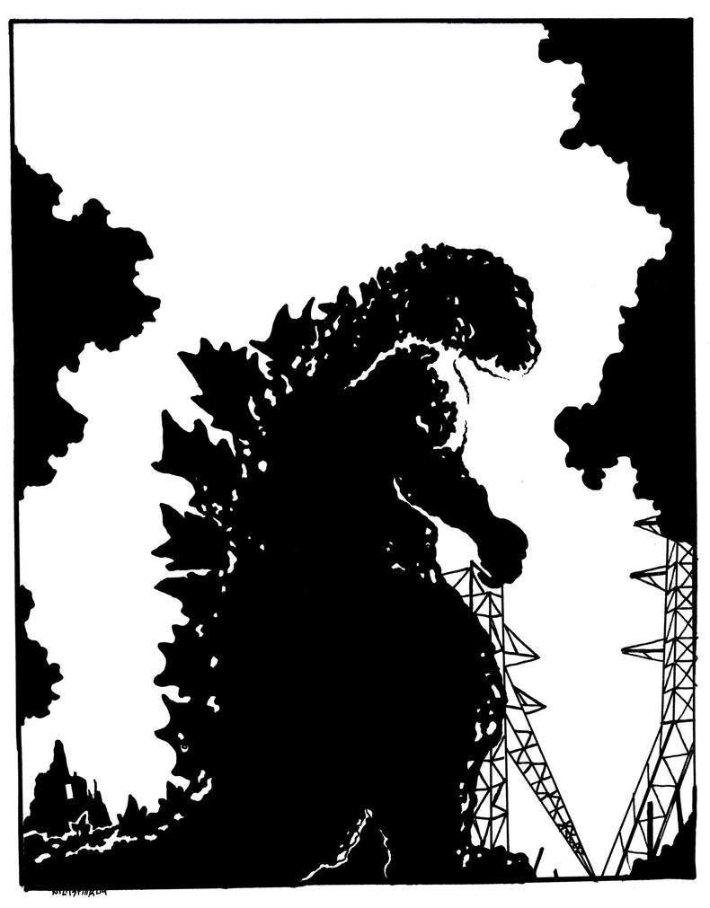 Godzilla Black and White by starvingzombie