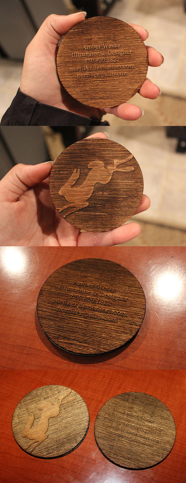 Round Wooden Business Cards