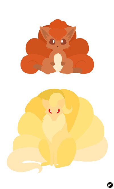 Vulpix and Ninetales by Nortiker