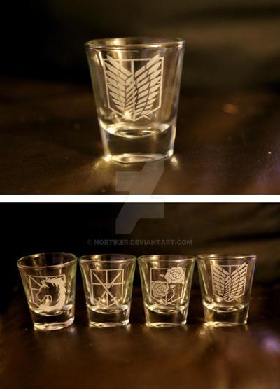 -Etsy- Laser Engraved Attack on Titan Shot Glasses by Nortiker