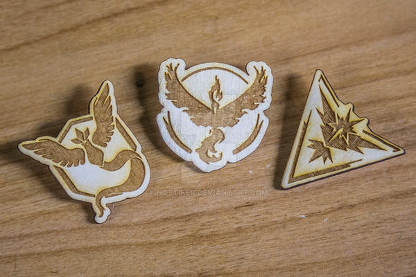 Team Instinct, Mystic and Valor badges. by Nortiker