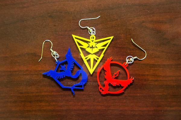 Pokemon Go - Team Valor/Instinct/Mystic Earrings by Nortiker