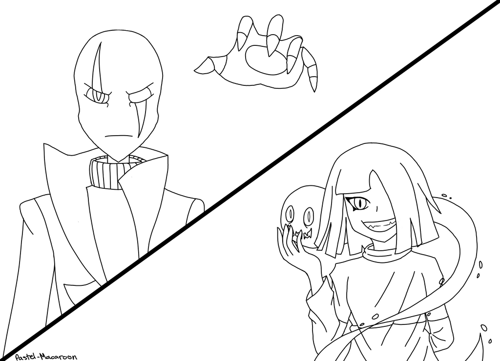 Line Art Group : Gaster vs betty line art by pastel macaroon on deviantart