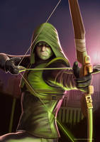 Guy with arrows and green hood but not Robin Hood by demidevil13
