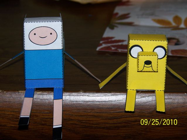 Finn and Jake Paper Crafts