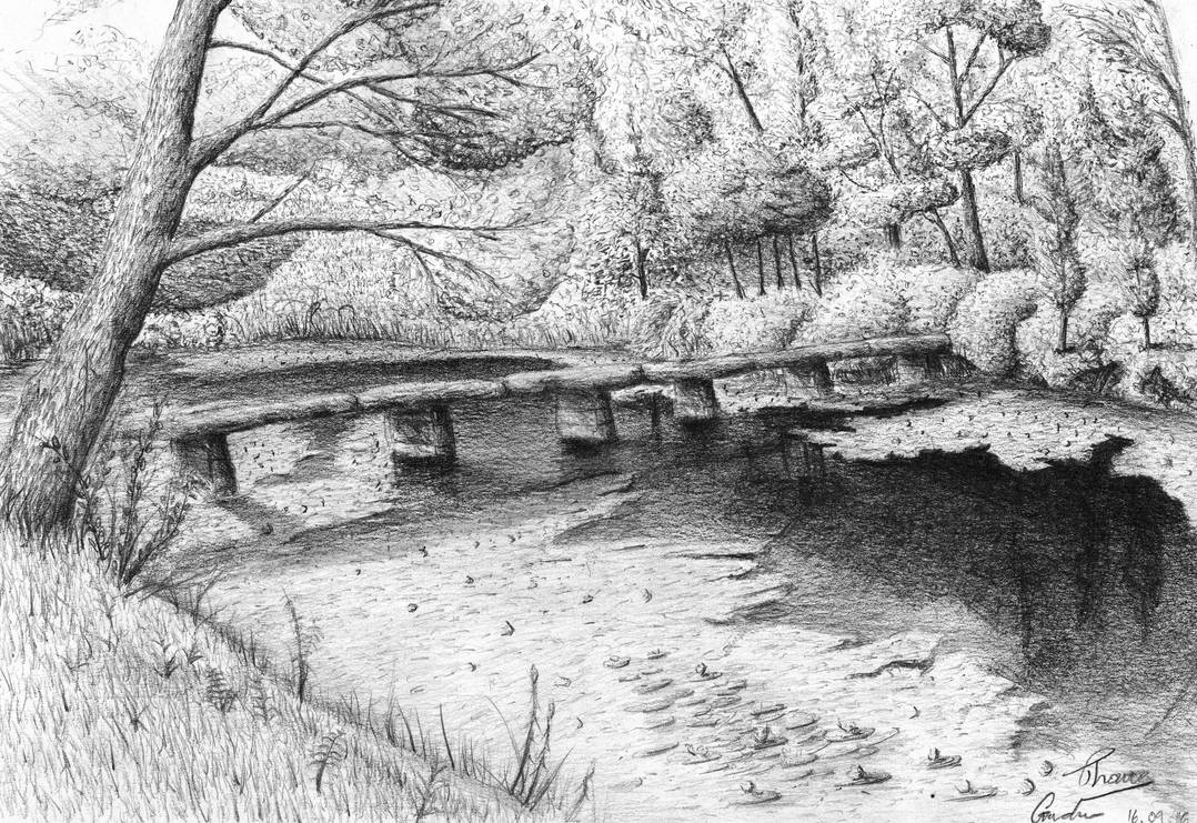 Bridge by the river pencil sketch 2013 by architectsketches on