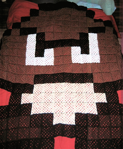 Goomba Afghan - crocheted by LunarJadeStyles