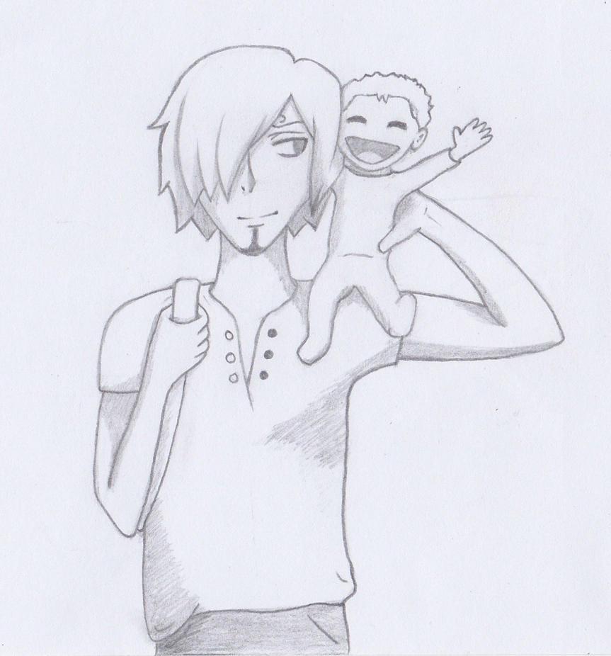 Papa Sanji and Baby Zoro by Urube