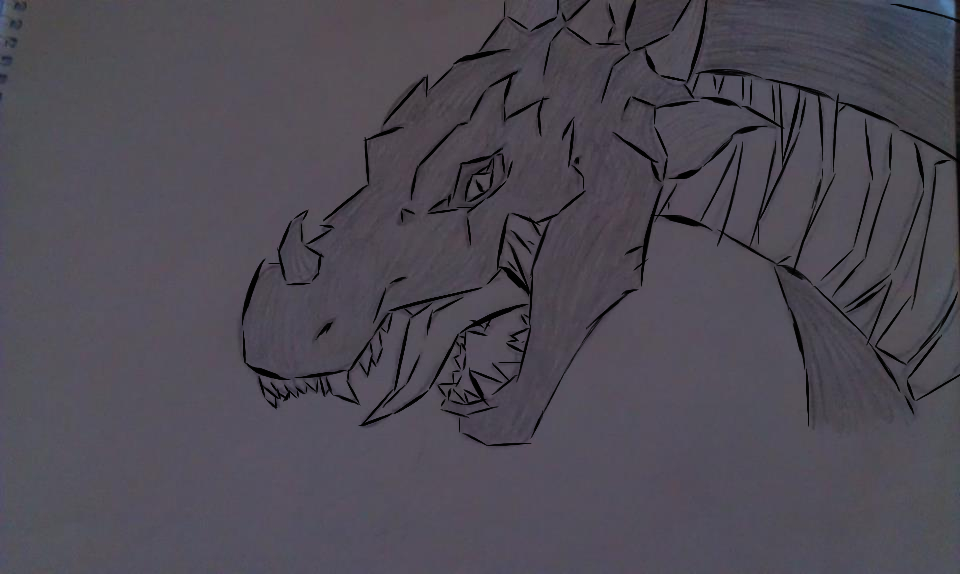 Dragon Drawing Outlined by MaineWicked