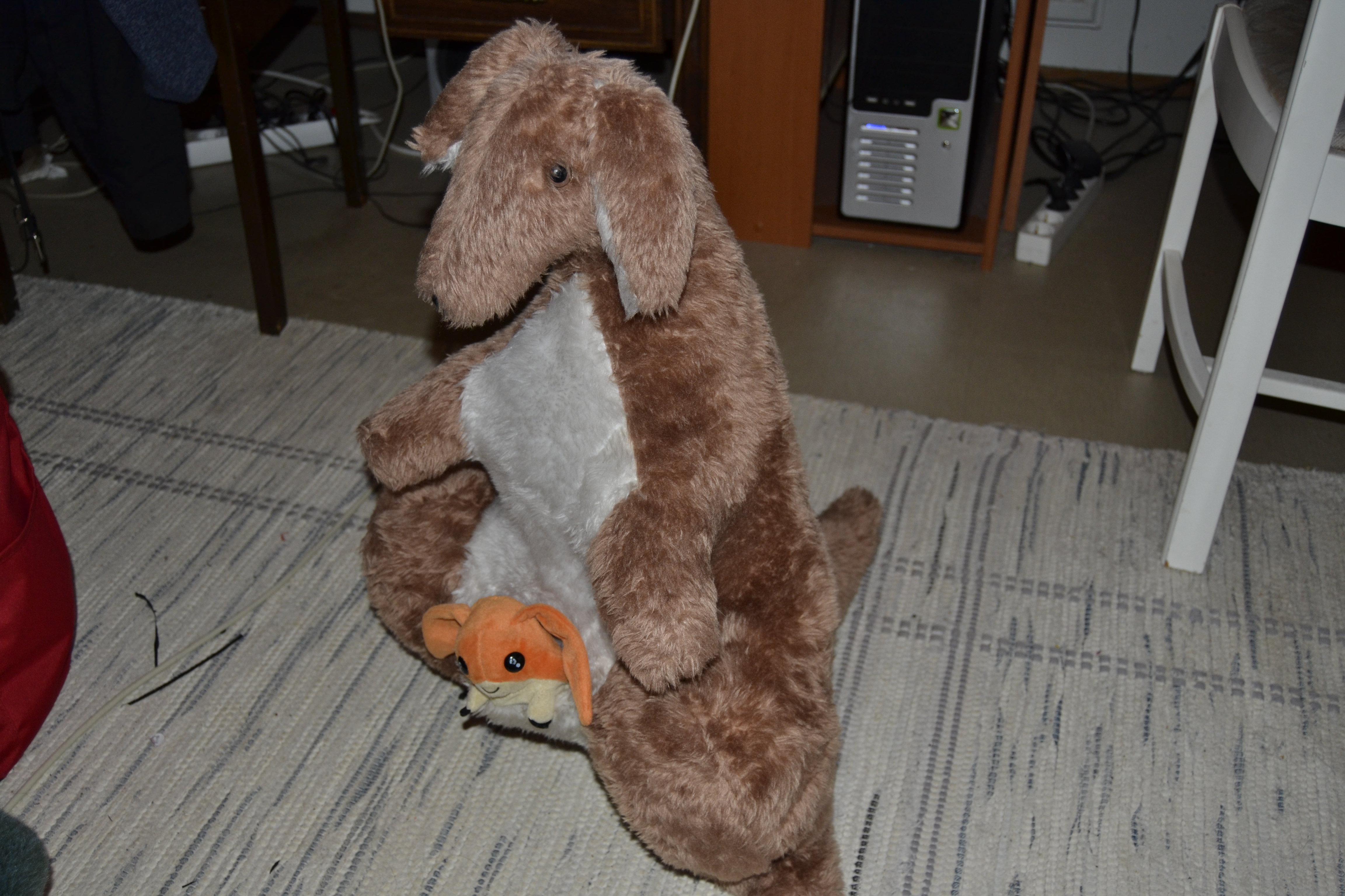 Kangaroo plush(with patamon plush in his pouch XD) by SoulFullOfSadness