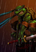 Leonardo in the rain by MightyMoose