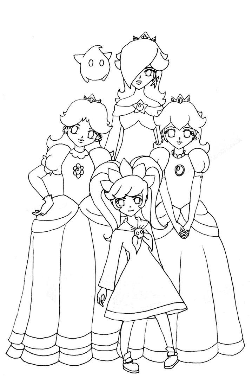 Princess rosalina free coloring pages for Free printable princess peach coloring pages