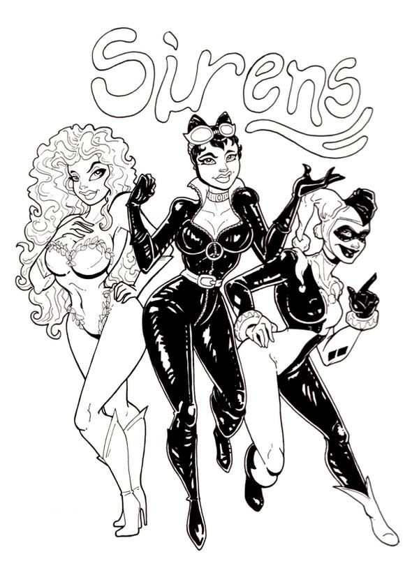 gotham city coloring pages - gotham city sirens inks by anamated on deviantart