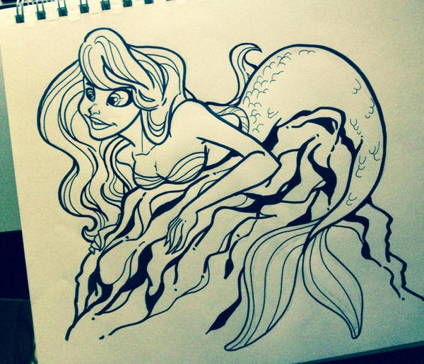 Ariel Rock Perch pen sketch by Anamated