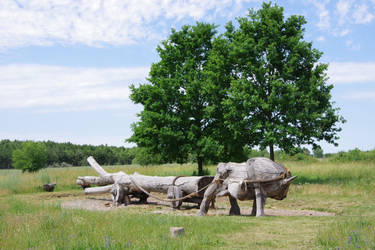 Ochsengespann aus Holz