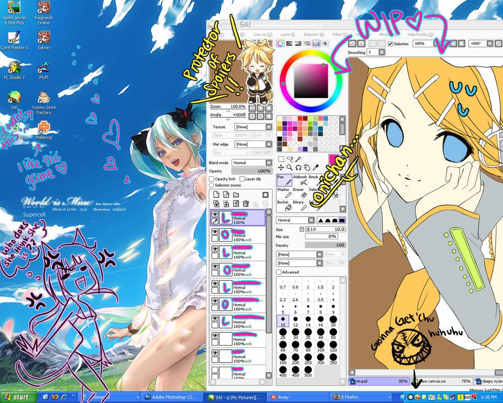 : vocaloid desktop + WIP : by lollivamp