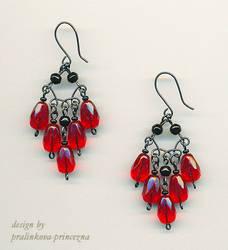 Red waterfall earrings