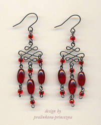 Red evening earrings