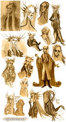 Thranduil and son - sketches by ElisEiZ