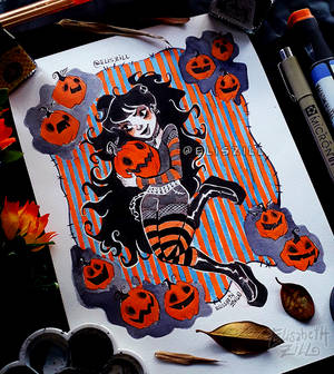 Pumpkin Girl_Day 1_Drawtober