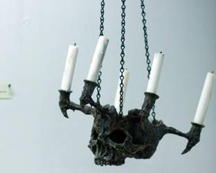 Skull Chandelier sculpture by MrSoles