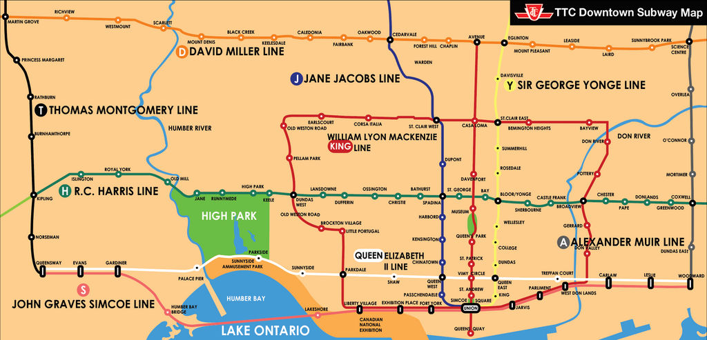 Subway Map Downtown.Ttc Downtown Subway Map Alternative Routes Alt By Canadakid97 On
