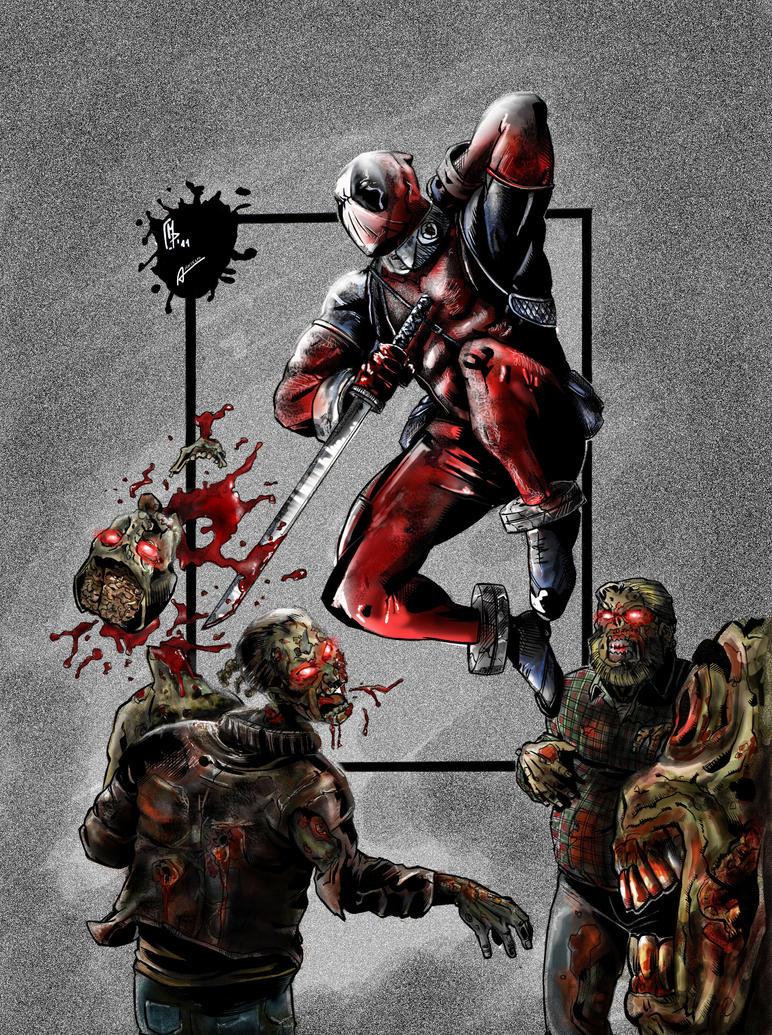 Deadpool vs Zombies by Anselm261092 on deviantART