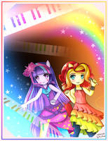 My little pony Twilight Sparkle and Sunset Shimmer by Korollnap