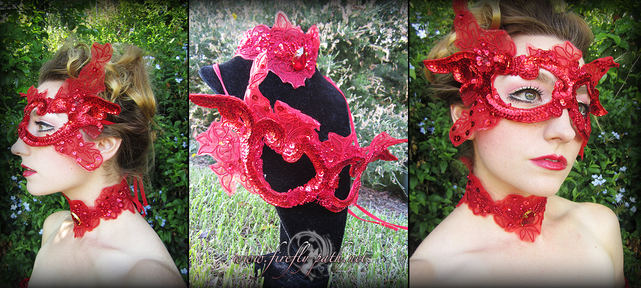 Ruby Butterfly Mask and Choker by Lillyxandra