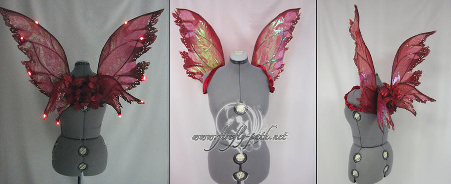Red LED fairy wings by Lillyxandra