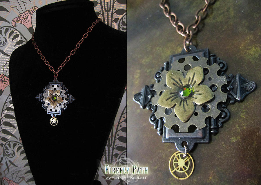 Steampunk Flower Necklace by Lillyxandra