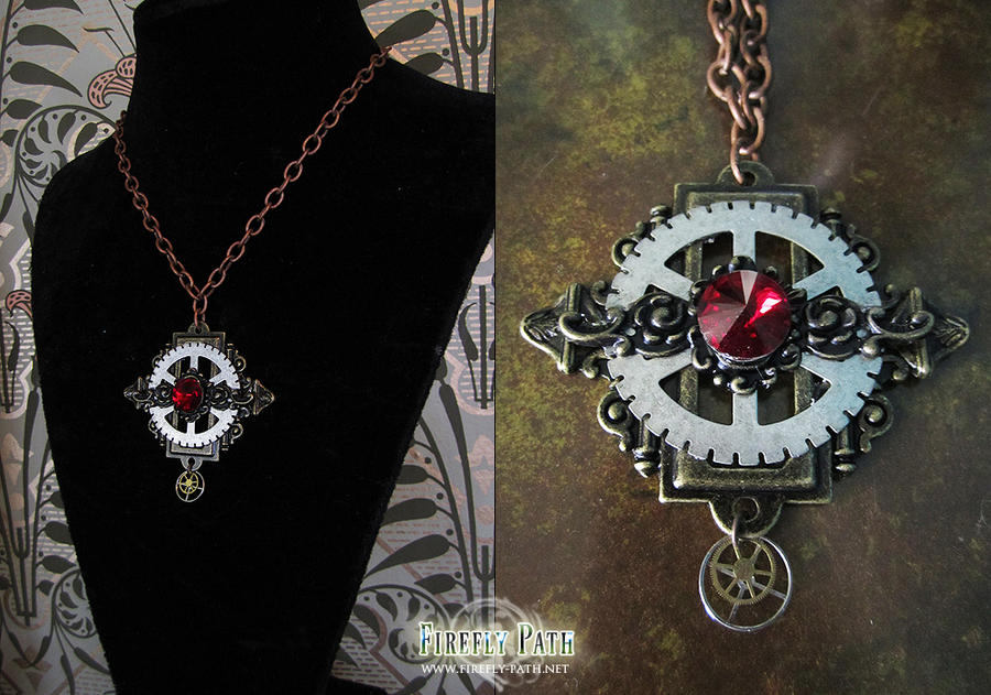 Red Crystal Steampunk Necklace by Lillyxandra
