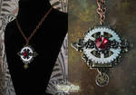 Red Crystal Steampunk Necklace