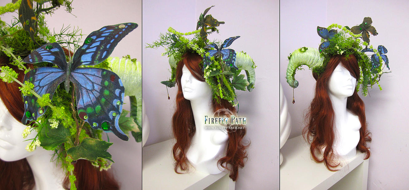 Mossy Aries Headdress by Firefly-Path
