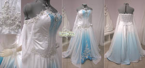 White and Blue Ombre Fantasy Wedding Gown