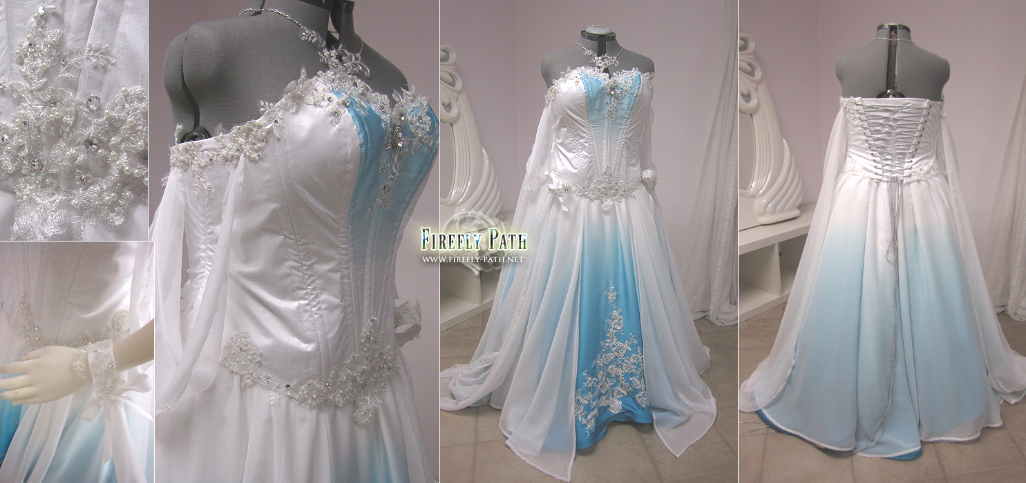 White and Blue Ombre Fantasy Wedding Gown by Lillyxandra