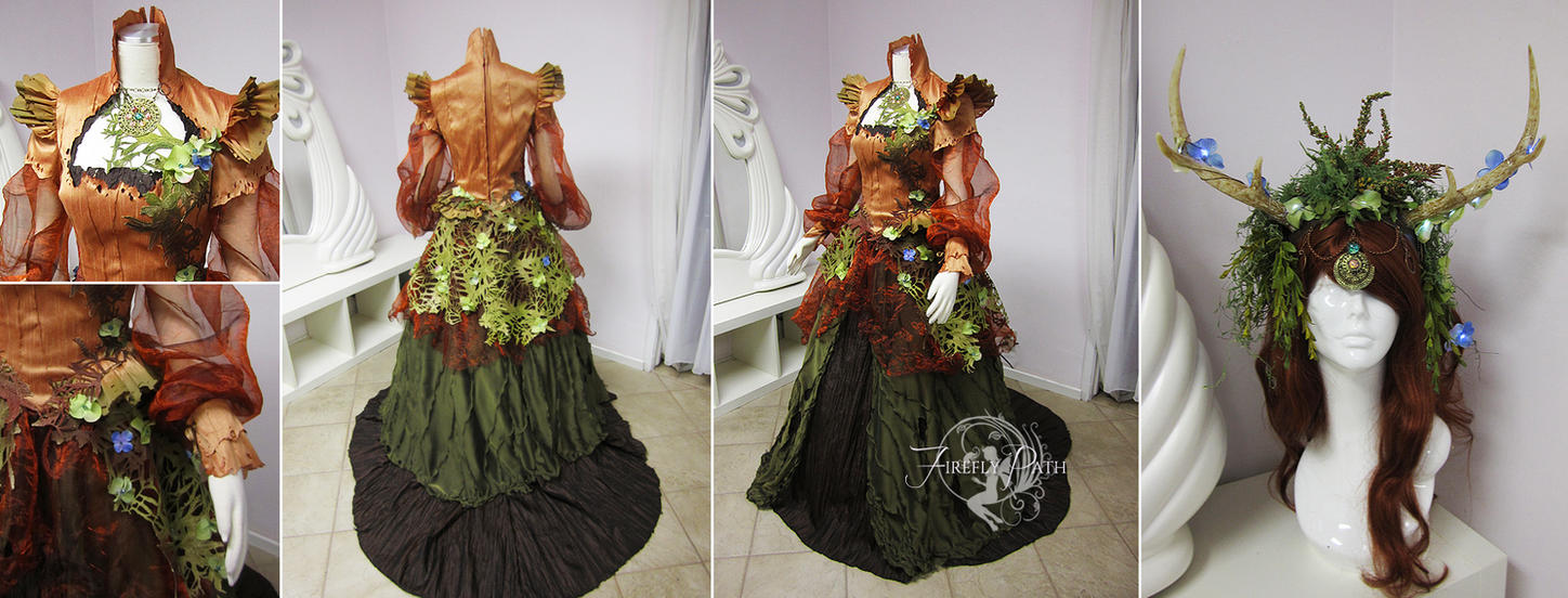 Mother earth original gown and headdress by firefly path for Nature themed wedding dress