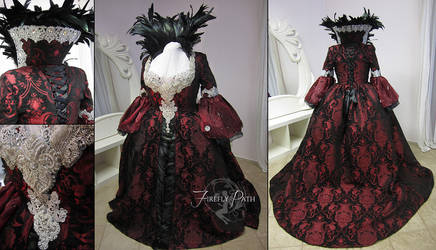 Regina Mills Black and Red Brocade Gown