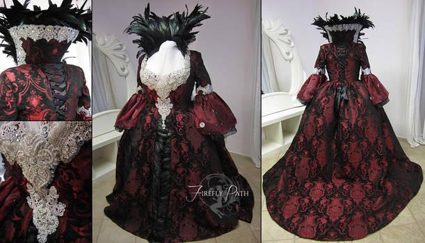 Regina Mills Black and Red Brocade Gown