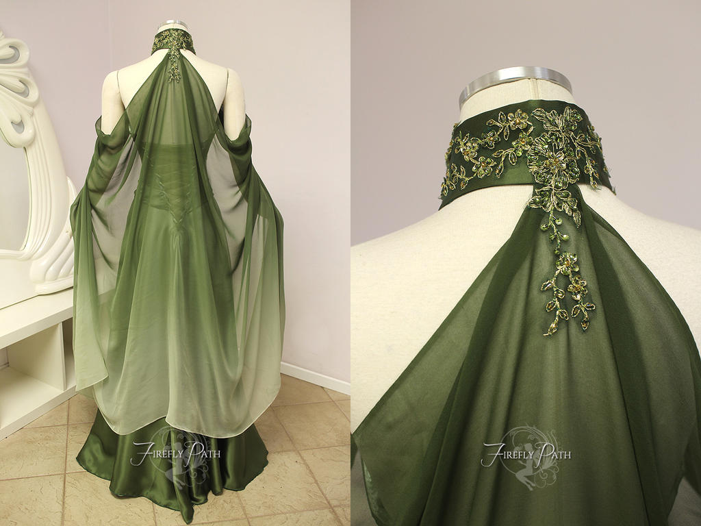 Elven bridal gown back view by firefly path on deviantart for Elven inspired wedding dresses