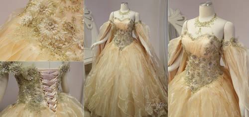 Champagne Peach Fantasy Bridal Gown