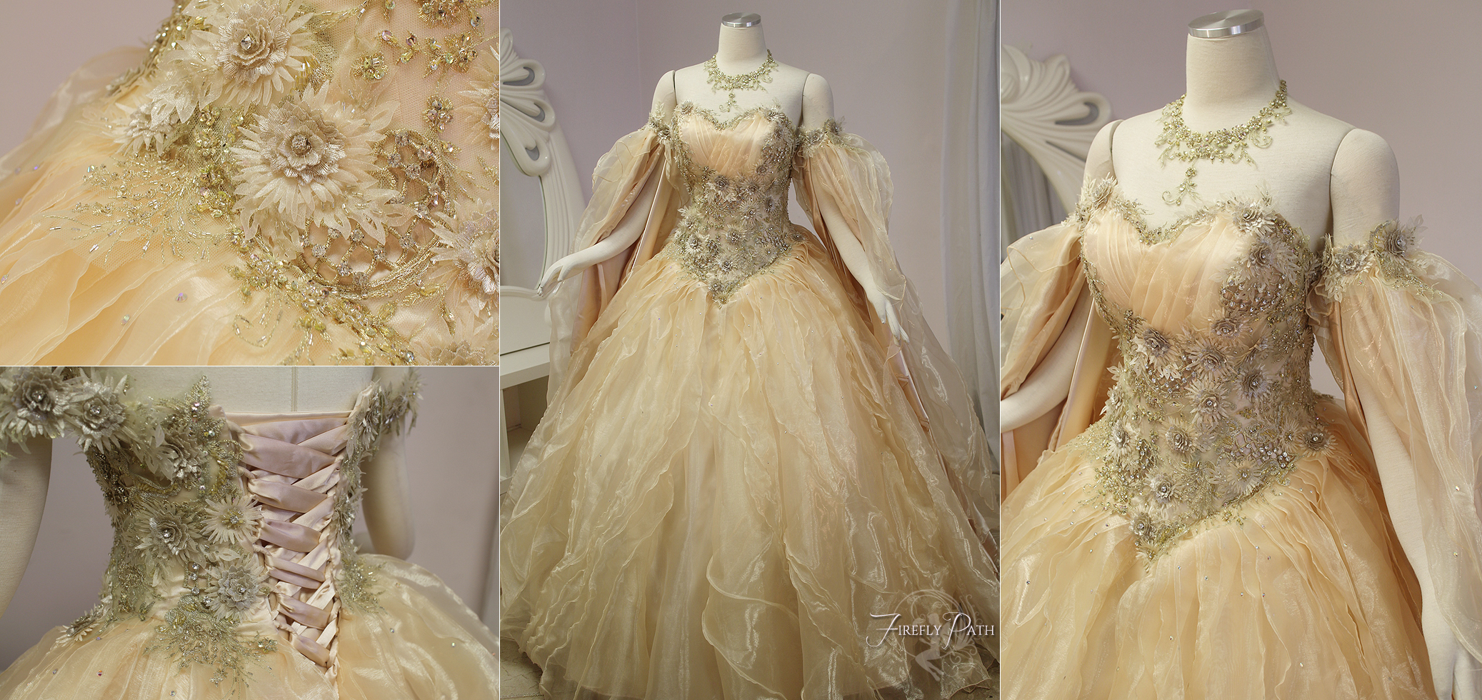 champagne peach fantasy bridal gown by firefly path on